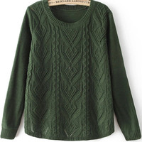 Green Round Neck Long Sleeve Cable Knit Sweater
