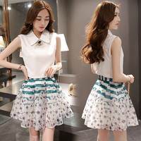 Collared White Blouse Floral Skirt Two Sets