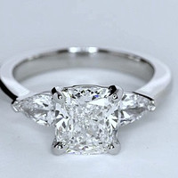 2.51ct E-VS2 Cushion Diamond Engagement Ring  Platinum JEWELFORME BLUE GIA certified