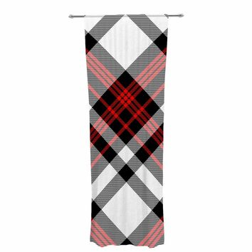 "Kess Original ""Red And White Plaid II"" Red White Pattern Digital Decorative Sheer Curtain"