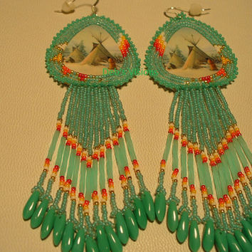 Native American Style rosette beaded  Winter Camp earrings in Turquoise Green