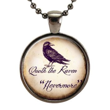 Quoth The Raven Necklace, Edgar Allan Poe Nevermore Jewelry, Halloween Crow Pendant
