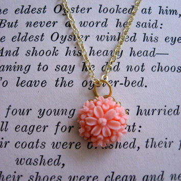 The Elizabeth Delicate Coral Flower Necklace by sodalex on Etsy