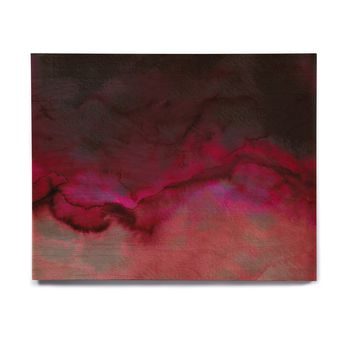 "Ebi Emporium ""SATURATION POINT, RED"" Red Black Abstract Modern Painting Mixed Media Birchwood Wall Art"