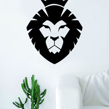 Lion Face V16 Decal Sticker Wall Vinyl Art Room Decor Animal King Jungle Beautiful Crown
