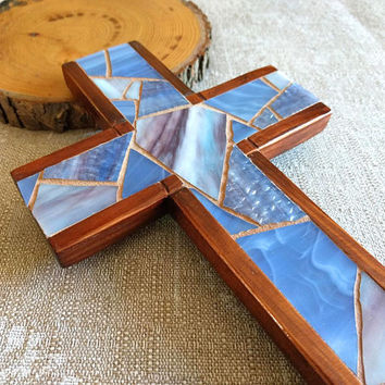 Wooden Wall Cross, Blue Mosaic Cross, Cross Wall Decor, Blue Hanging Cross, Baptism Wall Cross, Stained Glass Cross, Handmade Blue Cross