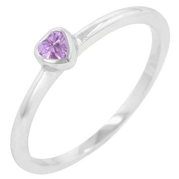 Mini Pink Heart Solitaire Ring, size : 05