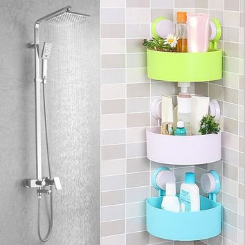 Bathroom Shelf Shampoo Holder Toothpaste Toothbrush Space Corner Sucker Bathroom Storage Storage Rack Kitchen Sucker Organizer