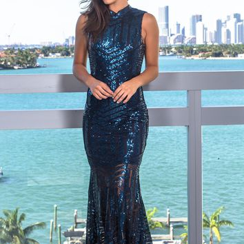 Navy Sequin Maxi Dress with Open Back