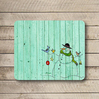 Green Mint Old Wood Snow Man Painting Mouse Pad Christmas Wooden Winter MousePad Natural Rubber Decor Computer Pad Personalized Boss Gift