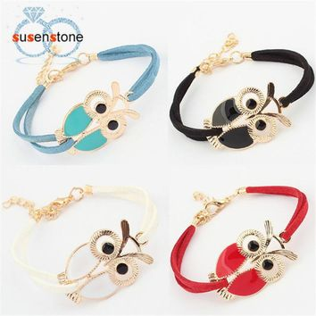 SUSENSTONE New Fashion Womens Girls Vintage Owl Decoration Faux Leather Bracelets Jecksion brand new and high quality