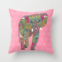 painted elephant pink Throw Pillow by Sharon Turner