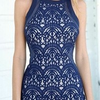 On The Verge Blue Lace Sleeveless Scoop Neck Sheer Mesh Bodycon Mini Dress