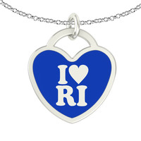 I Love Rhode Island Sterling Silver Heart Necklace