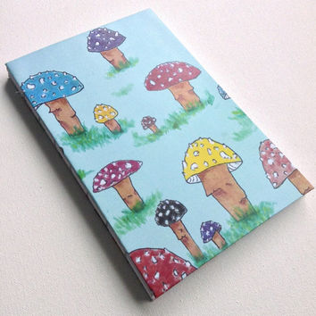 Rainbow Mushroom Shroom colorful woodland nature blank 80 page journal 5.5X8.5