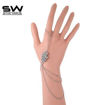New Fashion Women Multilayer Silver Plated Hamsa Hand Fatima Lucky Bracelet Finger Bangle Slave Chain Costume Jewelry