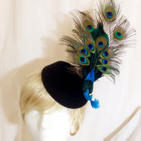 Peacock feather bird black pill box derby fascinator cocktail mini stewardess hat