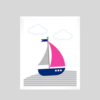 Baby Girl, Nautical Print, Nautical Nursery Decor, Sailboat Print, Baby Print, Nautical Print, Nursery Art Print, CUSTOMIZE YOUR COLORS 8x10