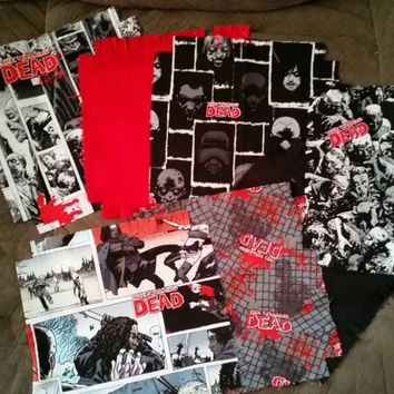 "The Walking Dead Flannel  rag quilt kit Zombies Michonne fringed die cut fabric squares batting complete set  ready to sew 45.5""x 58.5"