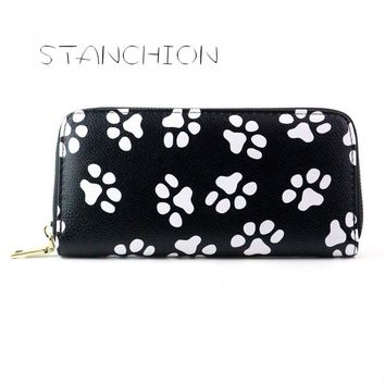 Women Wallets Clutch Faux Leather Long Smiling Face Paw Printing Holder Coin Purse Card Ladies Vintage Party Money Bag