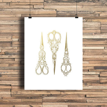 Antique Scissors Faux Gold Foil Art Print- Minimalist Art- Home Office Bathroom Decor- Housewarming Gift - Wedding Gift - Baby Nursery Decor
