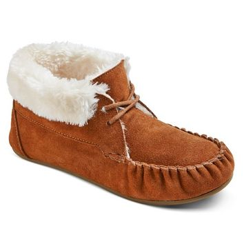 Women's Corene Lace Up Bootie Slippers Chestnut Solid