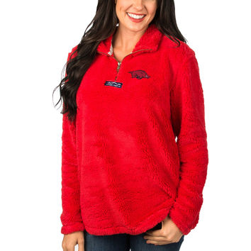 Women's Lauren James Red Arkansas Razorbacks Collegiate Linden Sherpa Pullover Quarter-Zip Jacket