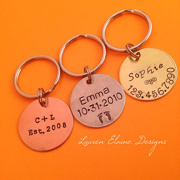 "Custom Hand Stamped 1"" Circle Keychains/Pet ID Tag- You Personalize- In Aluminum, Brass, or Copper"