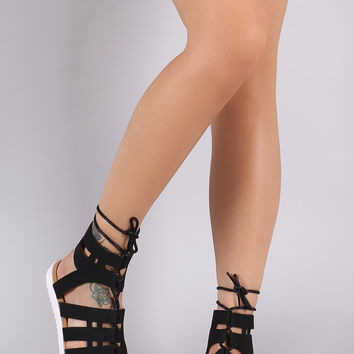 Gladiator Lace-Up Denim Lug Sole Flat Sandal