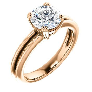 1.5 Ct Round Solitaire Diamond Engagement Ring 14k Rose Gold