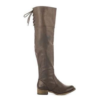 Mia Minute   Taupe Over The Knee Boot
