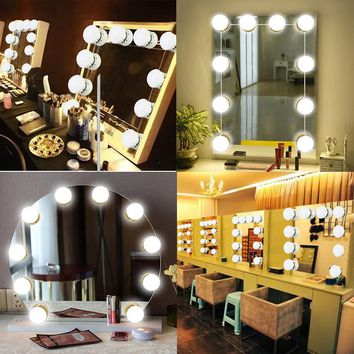 Kmashi 16W Mirror Makeup Vanity Lights Kit 10-Bulbs USB Charging Port Led Lights Hollywood DIY Vanity Lamp for Dressing Table