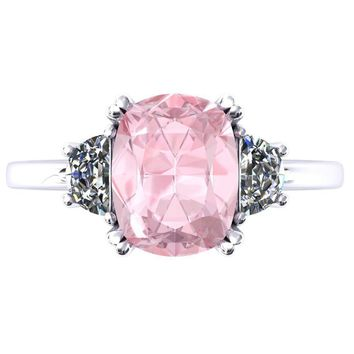 10.0x8.0mm Chatham Light Pink Sapphire Antique Cushion 950 Platinum 4 Double Prong 3 Stone Ring