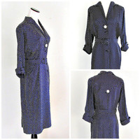 1940s Day Dress, Vintage Navy Blue & White Polka Dot Dress. Grace Fuller Dress, Size 6.