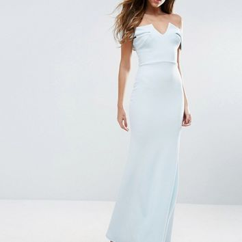 Club L Bridesmaid Off Shoulder Fishtail Maxi Dress at asos.com