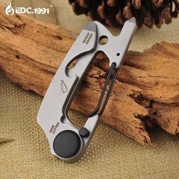 PEAPLO3 Full Stainless Steel Key Chain Multi Tool EDC kit Carabiner Keychain Clip Silver Hiking Climbing Hanger Buckle Outdoor Tools