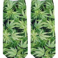 Green Weed Ankle Socks