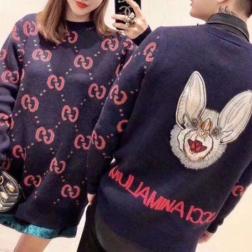 DCCK6HW Gucci' Women Fashion Bat Embroidery Double G Logo Letter Long Sleeve Knitwear Sweater Tops