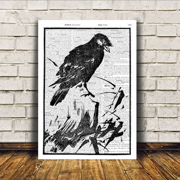Wall decor Bird art Sparrow poster Dictionary print RTA191