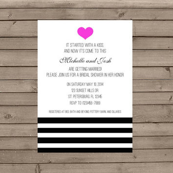 Bold Heart Bridal Shower Invitations: Choose Your Color