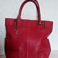 Fossil Handbag Large Red Pebbled Leather Shoulder Bag Purse Tote