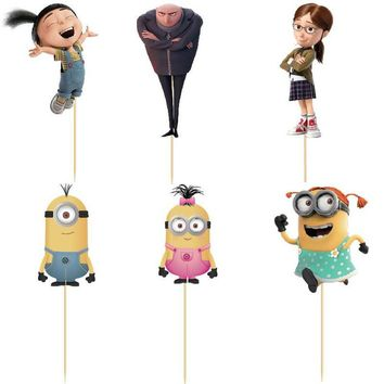 24pcs Despicable Me Gru minion Cup cake Topper Picks wedding birthday party decorations kids party supplies decoracion fiestas