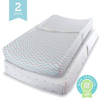 Changing Pad Cover Set BLUE - 2 Pack - Soft Jersey Cotton Changing Pad Fitted Sheet Set, Blue, Grey Chevron & Cross Pattern by Ziggy Baby - Best Baby Shower Gift Sets for Boys, Girls, Unisex