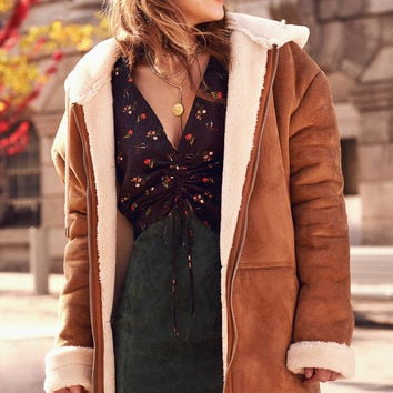 Silence + Noise Hooded Faux Sherpa Aviator | Urban Outfitters