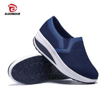 ALDOMOUR Fitness Shoes Women Sport For Women Swing Wedges Platform Zapatos Mujer Mesh Trainers Tenis Toning Shoes 1608