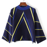 Korean Round-neck Stripes Pattern Sweater Pullover Knit Jacket [8511505607]