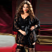 Cute On Sale Hot Deal Black Lace Gowns Sexy Plus Size Sleepwear Exotic Lingerie [6596476547]