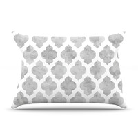 "Amanda Lane ""Gray Moroccan"" Grey White Pillow Sham"