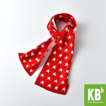 2017 KBB Spring    Winter New Style Office Women Men Design Yarn Knit Warm Adult Fashion Lady Red White Star Scarf Scarves Wraps