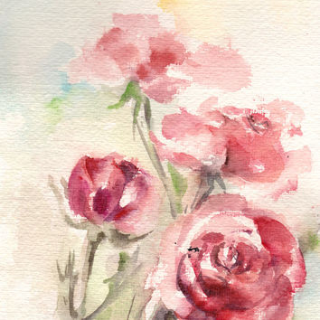 Red Roses, Original Watercolor Painting, Watercolour Art, Modern Art, Floral Art
